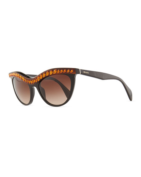 Amber Crystal-Encrusted Cat-Eye Sunglasses, Havana/Black
