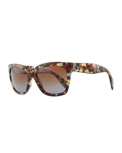 Prada Tortoise Rectangle Sunglasses, Havana Blue