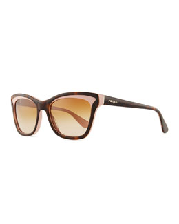 Prada Two-Tone Retro Rectangle Sunglasses, Pink/Havana