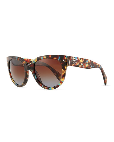 Prada Cat-Eye Retro Sunglasses, Spotted Blue