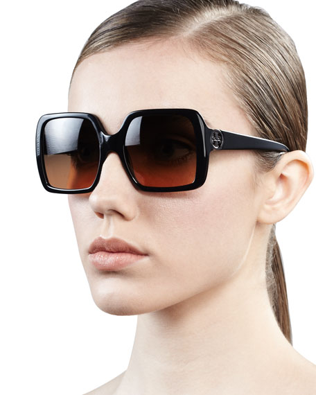 Sharp Square Sunglasses, Black