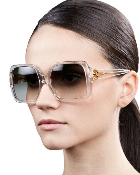 Sharp Square Sunglasses, Transparent
