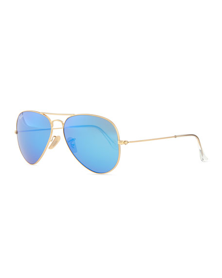 blue ray ban aviator sunglasses  Ray-Ban Aviator Sunglasses with Flash Lenses, Gold/Blue Mirror