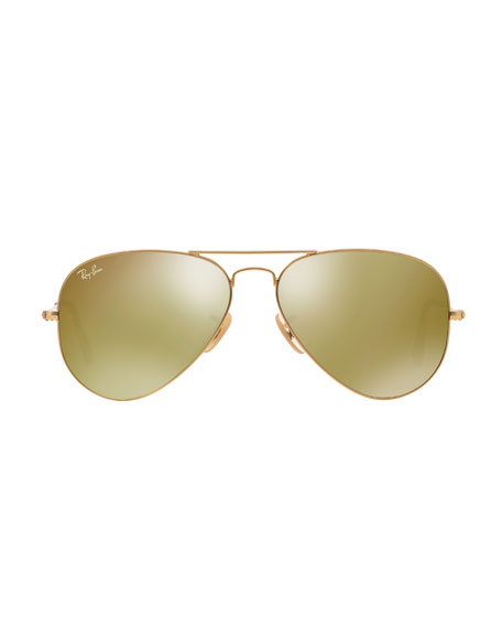 Aviator Sunglasses with Flash Lenses, Gold/Red Mirror