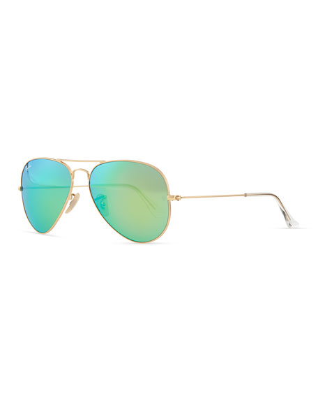 Rayban Aviator Sunglasses  ray ban aviator sunglasses with flash lenses gold green mirror