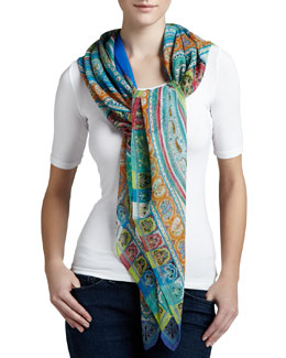 Etro Paisley-Print Square Bomb Scarf, Orange/Purple