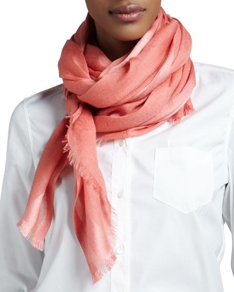 Lightweight Soffio Scarf, Persimmon/Coral
