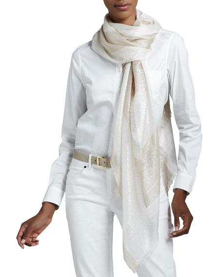 Aix Shimmer Striped Stole, White/Stone