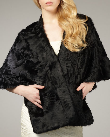 Lamb Fur Kimono-Style Evening Wrap