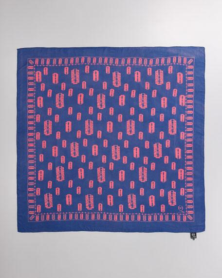 Razor Blade-Print Square Scarf, Cobalt Blue