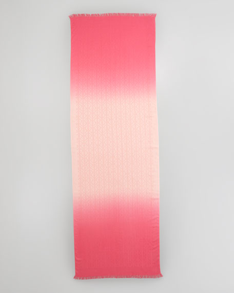 Dip-Dye Allover Logo-Print Scarf, Pink Shell