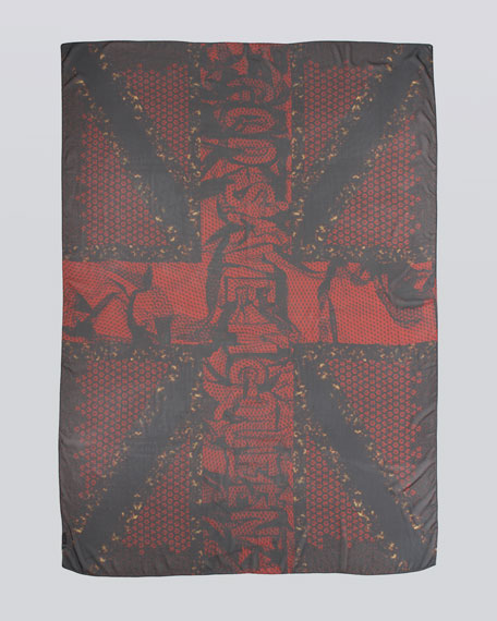 """God Save McQueen"" Tortoise Scarf, Red/Black"