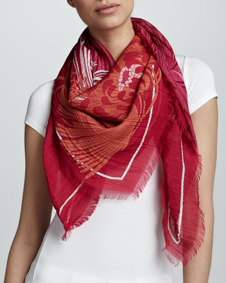 Ladigue Runway Print Scarf, Magenta