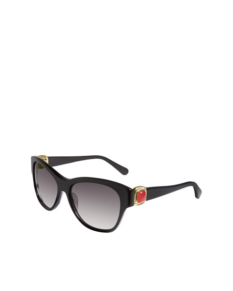 Albion Wayfarer Sunglasses, Black Onyx/Gold