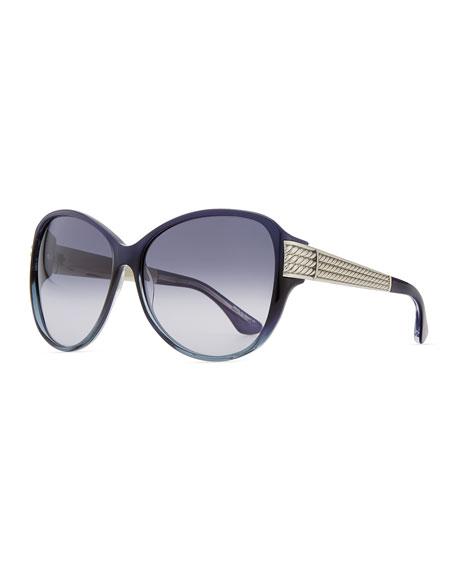 Stretched Wheaton Sunglasses, Iolite/Silver
