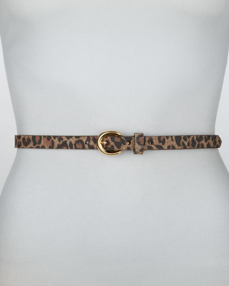 Leopard-Print Leather Belt