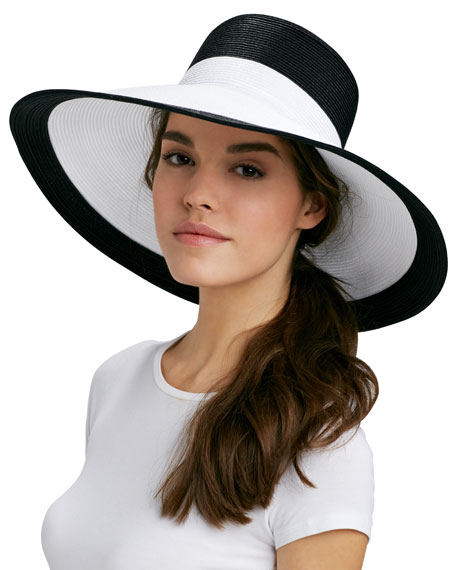 Swinger Wide-Brim Hat, Black/White