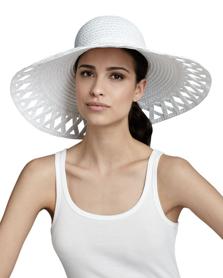 Maribel Wide-Brim Squishee Hat, White