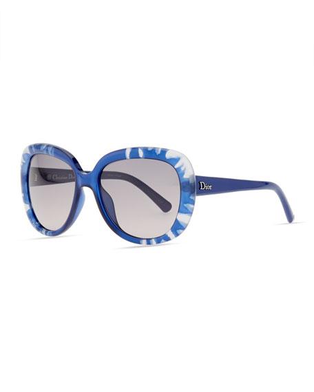 Rounded Flower Sunglasses, Blue