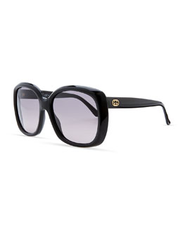 Gucci Plastic Square Sunglasses, Shiny Black