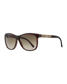 Gucci Gradient Havana Sunglasses, Red/Brown