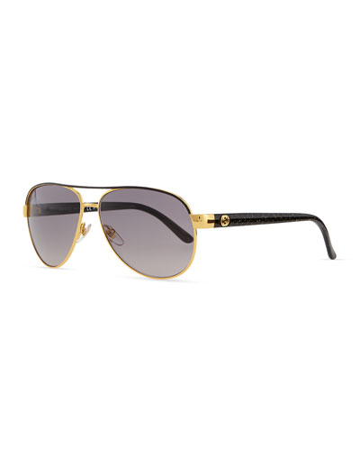 Gucci Metal Aviator Sunglasses, Black