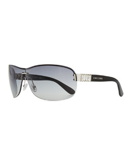 Jimmy Choo Gradient Shield Sunglasses, Gray/Palladium