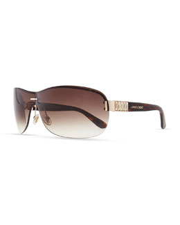 Jimmy Choo Gradient Shield Sunglasses, Brown/Golden Havana