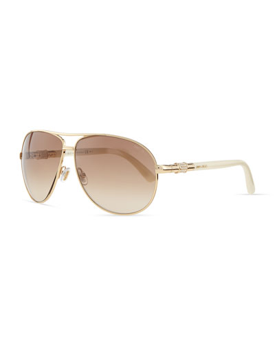 Jimmy Choo Walde Crystal-Temple Aviator Sunglasses, Ivory