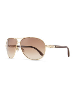 Jimmy Choo Walde Crystal-Temple Aviator Sunglasses, Brown
