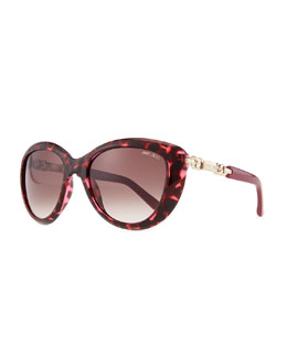 Jimmy Choo Wigmore Cat-Eye Chain-Arm Sunglasses, Havana Pink
