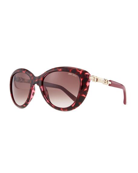 Wigmore Cat-Eye Chain-Arm Sunglasses, Havana Pink