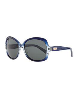 kate spade new york carlene rounded polarized sunglasses, blue