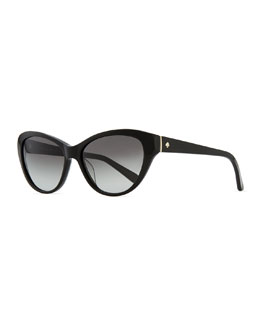 kate spade new york della cat-eye sunglasses, black