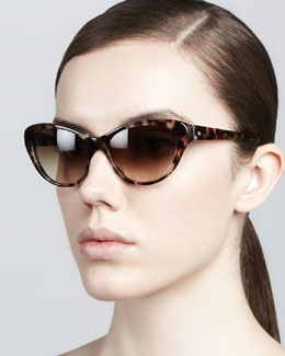 kate spade new york della cat-eye sunglasses, tortoise
