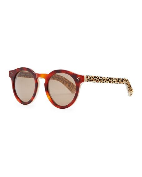 Leonard II Round Sunglasses, Havana/Cream