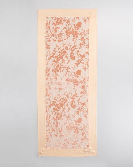 Floral Velvet Burnout Stole, Cantaloupe