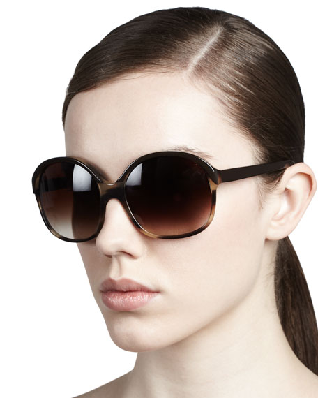 Casandra Round Sunglasses, Black/Tortoise