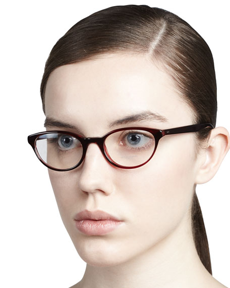 Lilla Thin Cat-Eye Fashion Glasses, Red Havana