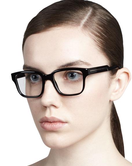 Rounded-Square Fashion Glasses, Black