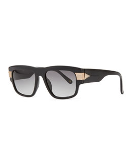 Givenchy Modified Rounded Rectangular Sunglasses, Black