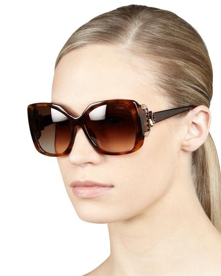 Crystal-Temple Square Sunglasses, Havana