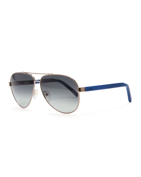 Aviator Sunglasses, Gunmetal/Blue