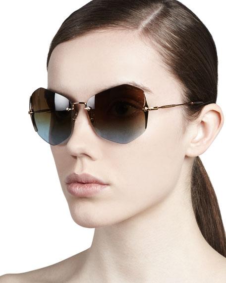 Rimless Irregular Sunglasses, Antique/Blue-Violet