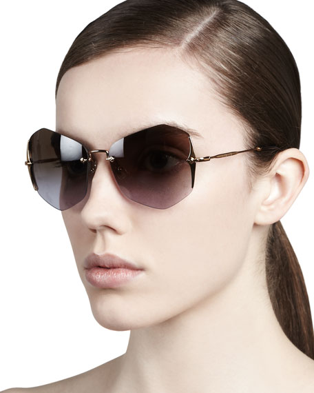 Rimless Irregular Sunglasses, Antique/Amber-Blue