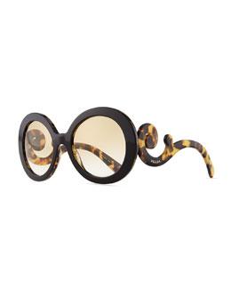 Prada Baroque Round Sunglasses, Tortoise