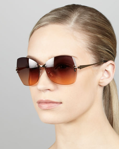 Rimless T-Temple Sunglasses, Gray/Orange