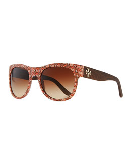 Tory Burch Geometric-Print Rectangle Sunglasses, Orange/Purple