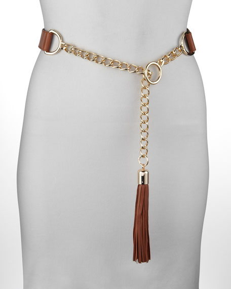 Suzi Roher Chain-Leather Tassel Belt, Rust