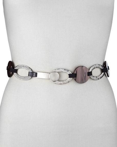 Hammered Silver & Enamel Disc Belt